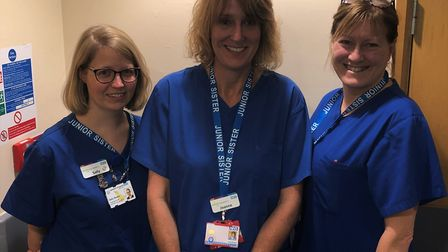 Registered nurse Sally Nasho and junior sisters Jo Edwards and Lisa Markwood (right) in the neo-nata
