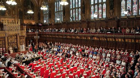 The House of Lords during the State Opening of Parliament in Westminster. Ten of the Lords turned up