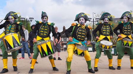 12 drummers drumming (we could only find a photo of five). Picture: DENISE BRADLEY