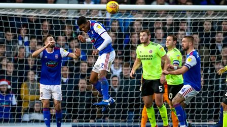 Jordan Spence heads the ball clear late in the first half. Picture: STEVE WALLER WWW.STEPHENW