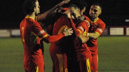 Hugs all round and another three points for the Marketmen on Saturday Photo: BEN POOLEY