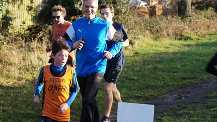 Runners, young and old, negotiate the 180 degrees turn during the Kesgrave parkrun. Picture: KESGRAV