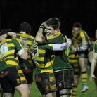 Bury St Edmunds players celebrate their last-gasp win on Saturday Photo: SHAWN PEARCE PHOTOGRAPHY