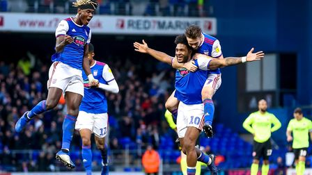 Ellis Harrison (10) celebrates giving Ipswich Town the lead in Saturday's 1-1 home draw with Sheffie