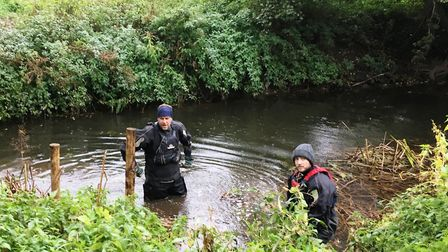 Ben Norrington and Andy Ward from the Environment Agency working in the River Gipping Picture: Melis