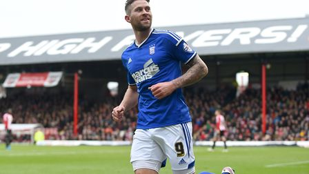 Daryl Murphy celebrates scoring his second at Brentford on Boxing Day in 2014