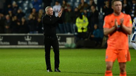 Ipswich Town manager Paul Lambert applauds the away fans at Loftus Road. Picture Pagepix