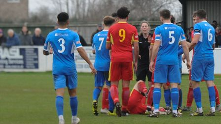 Tempers flare at Victory Road where Leiston beat Needham Market 2-1 on Boxing Day. Non-league is in