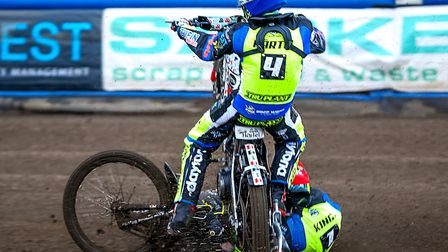 Ipswich Witches Michale Hartel (blue helmet) and team-mate Danny King crash last season. It was a di