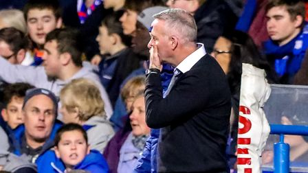 Town manager Paul Lambert watches on after Town had conceded their third. Picture: STEVE WALLER