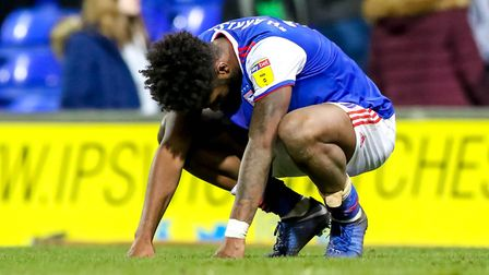 Ellis Harrison pictured after the final whistle in the 3-2 defeat by Millwall. Picture: STEVE WAL