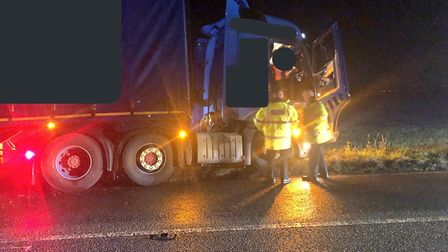 Traffic control is in place after a lorry came off the A140 Picture: NSRAPT