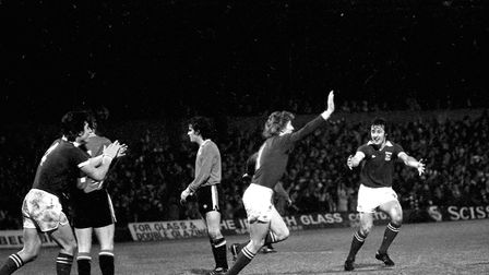 Clive Woods celebrates his goal as the Blues beat Man United 2-1 at Portman Road in 1977
