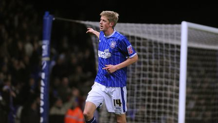 Jon Stead celebrates scoring his goal and Town's third as they knock out League Two side Chesterfiel