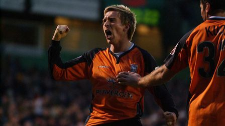 Darren Currie celebrates scoring one of his two goals as Town won 2-1 at Plymouth in 2005