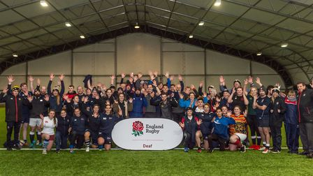 The England Deaf Rugby squads in the Ipswich Town training dome. Picture: PAVEL KRICKA
