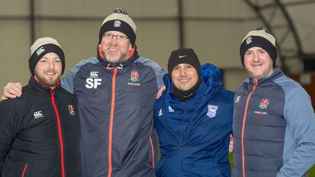 Nino Severino (in blue jacket) with the England Deaf Rugby coaching team. Picture: PAVEL KRICKA