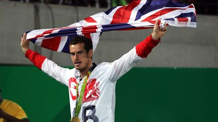 Andy Murray with his gold medal following victory in the men's singles final at the Olympic Tennis C