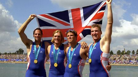 Great Britain rowers (left to right) Steve Redgrave, Tim Foster, James Cracknell and Matthew Pinsent