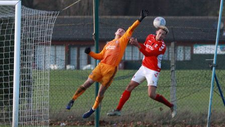 Harry Wright reaches out for the ball against Charlton. Picture: ROSS HALLS