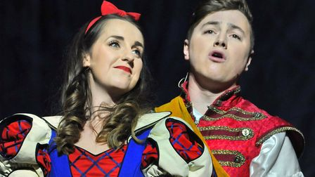 Harriet Bacon as Snow White with Prince Callabro, played by Matt Pagan in the Ipswich Regent panto S