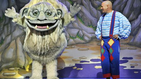 Mike McClean finds a friendly face in the forest in the Ipswich Regent panto Snow White and the Seve
