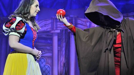Harriet Bacon as Snow White is about to make a dreadful mistake in the Ipswich Regent panto Snow Whi