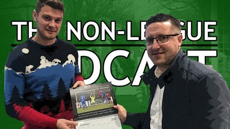 Will Ridgard and Stuart Boardley, holding a non-league calendar put together by photographer Paul Vo