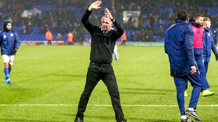Town manager Paul Lambert applauds fans in the North Stand his sides 1-0 win. Picture: STEVE WALL