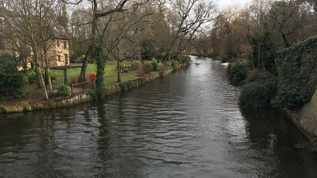 The Little Ouse river in Brandon where a body was found on Thursday. Picture: Conor Matchett