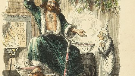 Scrooge's third visitor, from the first edition of Charles Dickens' A Christmas Carol. Illustration