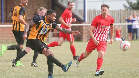 Stowmarket's Remi Garrett, on target for Rick Andrews's side. Picture GARY DONNISON