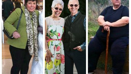 Glyn and Gillian Woodward, after their weight loss (centre) and before (left, and right) as they wer