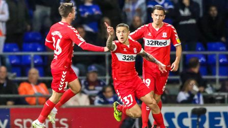 Mo Besic celebrates his early goal to give the visitors the lead at Portman Road. Picture: STEVE