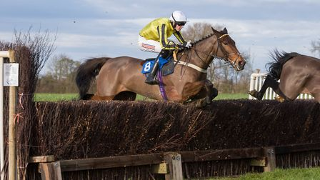 Jack Andrews on his way to victory aboard Just Cause in the Men's Open race at Cottenham. Picture: G