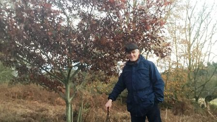 Andrew Phillips and the Texan oak tree given to him by Michael Heseltine