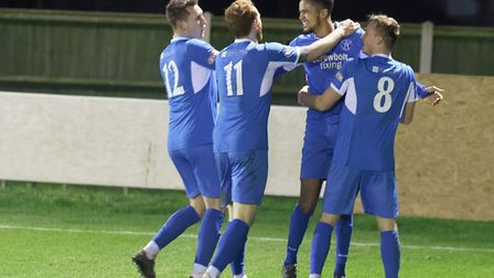 Leiston's Noel Aitkens celebrates his goal in the 1-1 draw with Royston with his team mates. Picture
