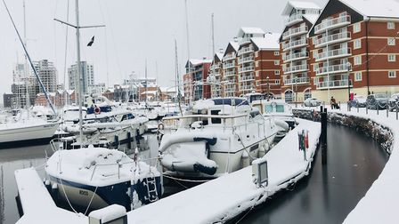 The Beast From the East covered Ipswich Waterfront in a blanket of snow. Picture: EMILY TOWNSEND