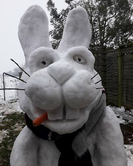 Roger Goodchild's snow bunny in Worlingworth, he made it during the Beast from the East 2018. Pictur