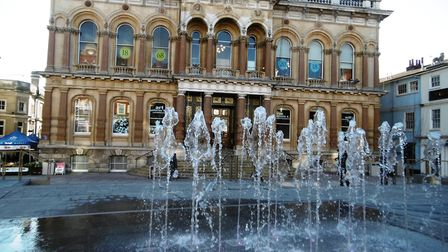 Ipswich Cornhill and Town Hall with new fountains Picture: DAVID VINCENT