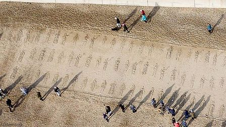Artwork on Clacton sea-front marking Remembrance Day 2018 Picture: KEVIN JAY