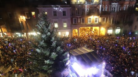 Ipswich Cornhill during the 2018 Christmas lights switch on Picture: ARCHANT