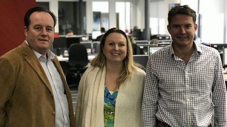 Toby Durrant, Jessica Hill and Paddy Bishopp in the EADT newsroom