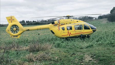 An air ambulance was called to the scene of a head on crash near Newmarket Picture: SUFFOLK CONSTABU