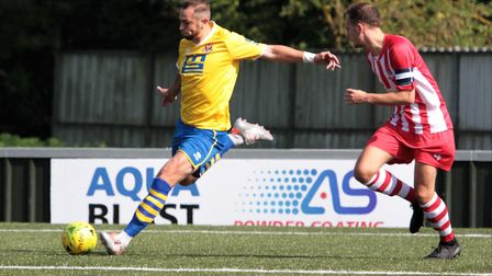Paul Hayes, left, was on target in AFC Sudbury's 3-2 win at in Bury Town. Photo: CLIVE PEARSON