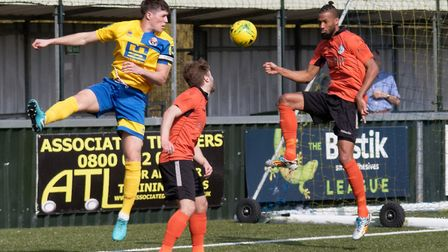 Joe Whight, left, gave Sudbury the lead at Bury Town. Picture: PAUL VOLLER