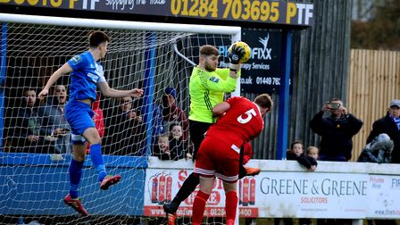 Kyran Clements, left, scored in Bury's furious fightback against AFC Sudbury. Picture: ANDY ABBOTT