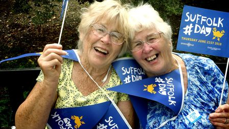 Ann Clarke and Jane Carter celebrate Suffolk Day in Abbey Gardens last year Picture: ANDY ABBOTT