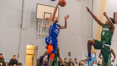 Eivydas Aleksa gets to the rim to score for Ipswich in their win over London Westside. Picture: PAVE