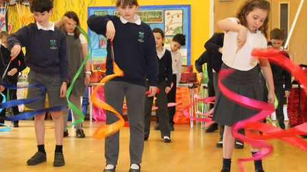 Pupils from Wilby Primary School celebrating Chinese New Year in 2018 and learning Chinese Ribbon Da
